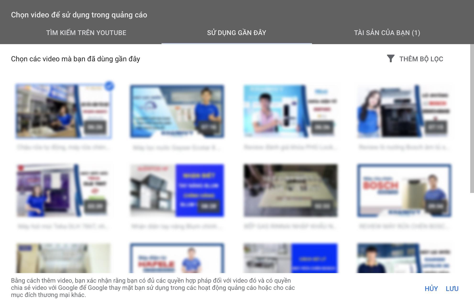 Chọn video để sử dụng trong quảng cáo